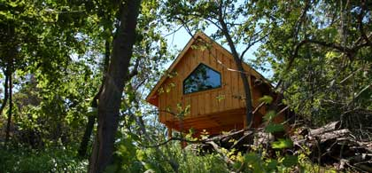 One of the eco-lodges at Island Spirits in Rice Lake