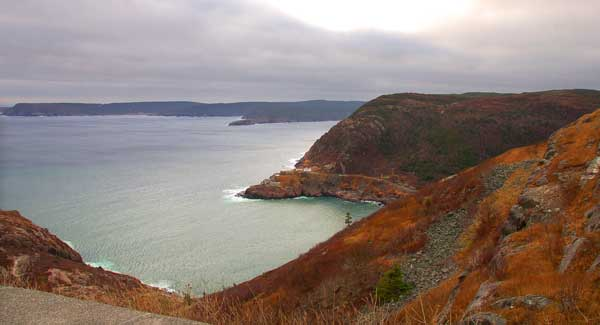 View of the Atlantic Ocean from the top of Signal Hill, St. John's, Newfoundland, Canada