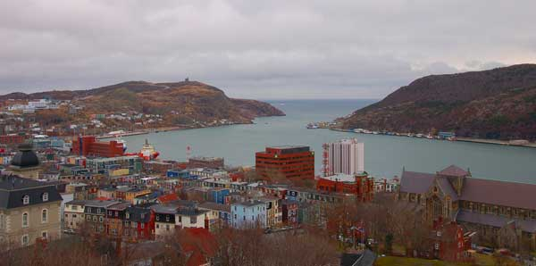 View of St. John's harbour, Newfoundland, from the restaurant at The Rooms