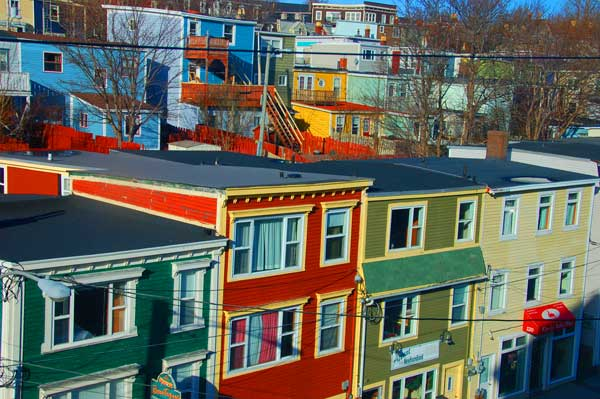 Colourful row houses in St. John's, Newfoundland