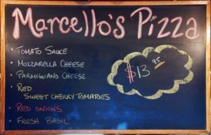 Chalk board menu at Marcello's Pizzeria