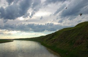clouds over a river in southeastern Alberta