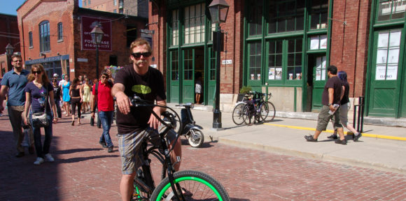 cyclist at Distillery District, Toronto