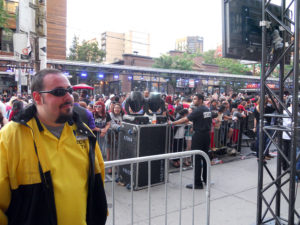 security and fans at the Much Music Video Awards in Toronto