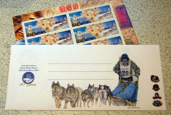 dog sled stamps and envelope