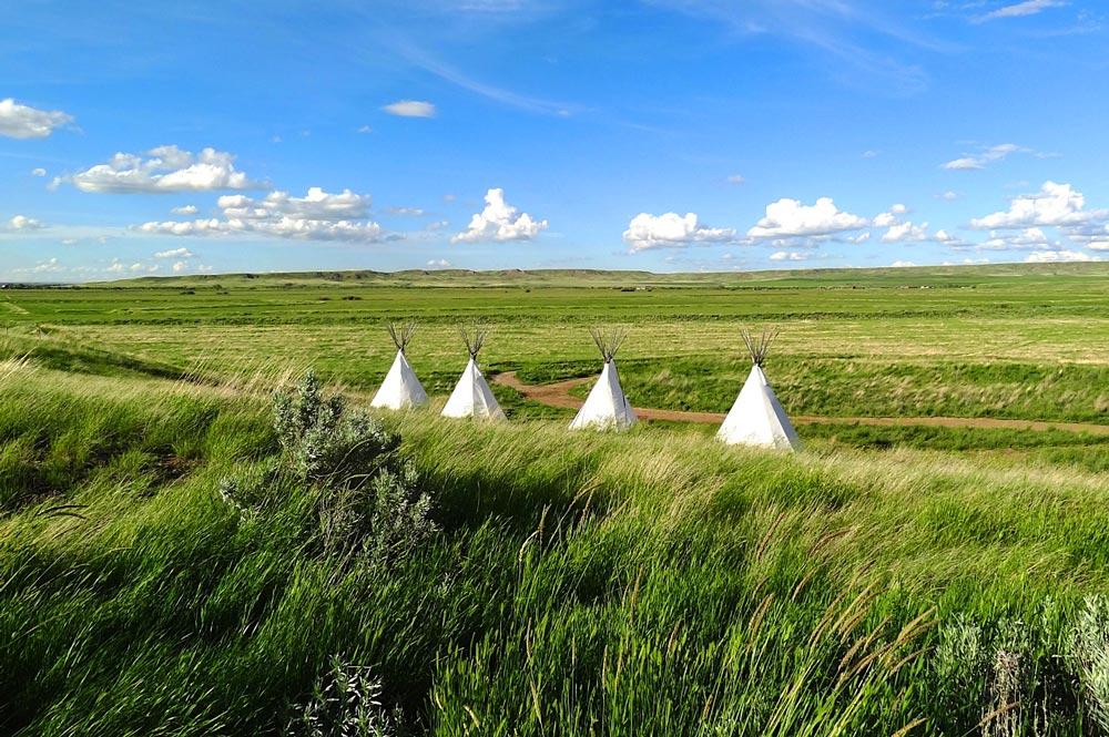 tipis or teepees in Grasslands National Park, Saskatchewan