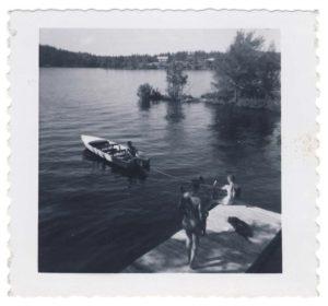 boat and dock at West Hawk Lake, Manitoba