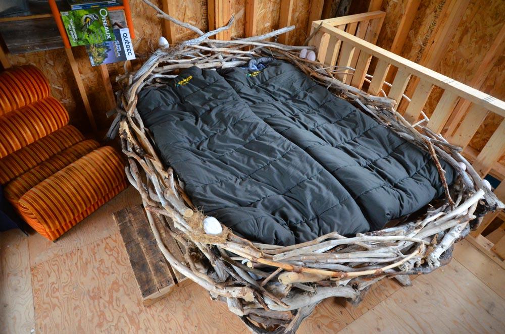birdnest bed at Parc Nature de Pointe-aux-Outardes