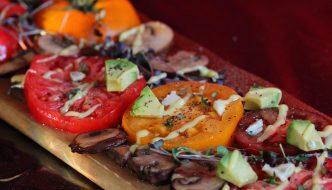 Elderflower-infused Tomatoes with Mushrooms, Avocado and Garlic Aioli Recipe