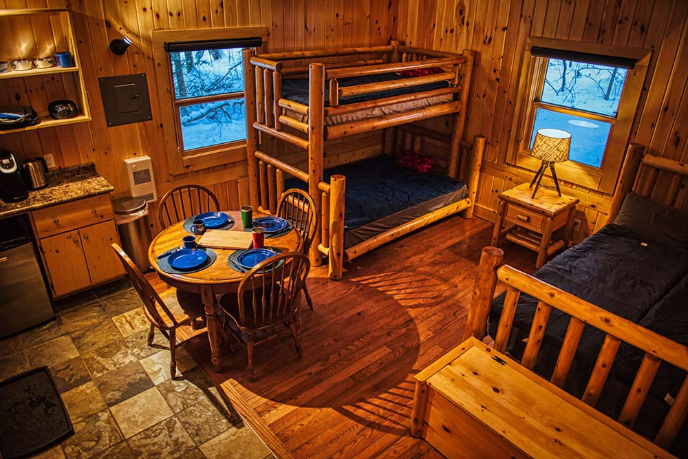 Roofed Accommodation at Arrowhead Provincial Park Cabin interior