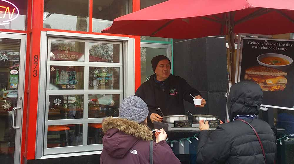 The Soup Guy hands out samples in Ottawa