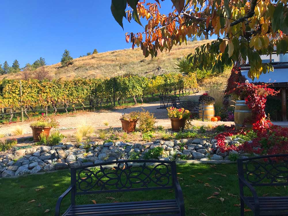 Okanagan Valley Hillside Winery offers refreshments a short distance from the trail