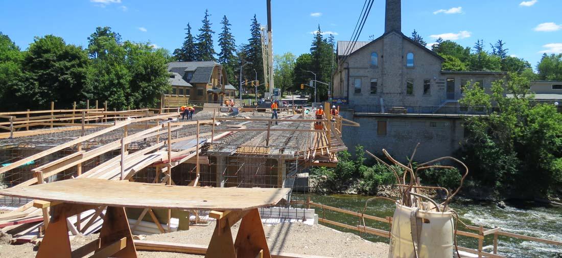 Charles Mattaini Bowstring Bridges - St. David Street bridge construction Fergus