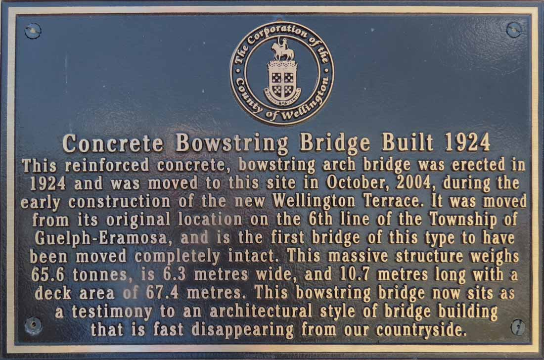 Charles Mattaini Bowstring Bridges - plaque in Fergus