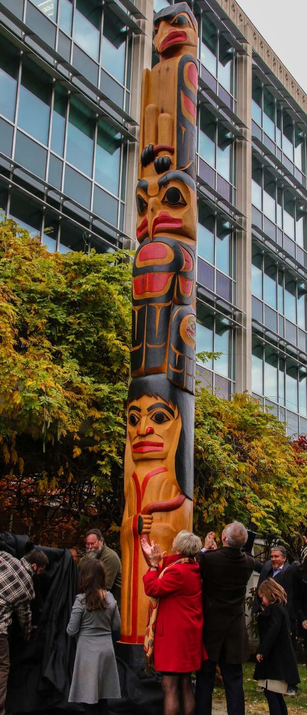 Totem Pole Carving - finished pole upright