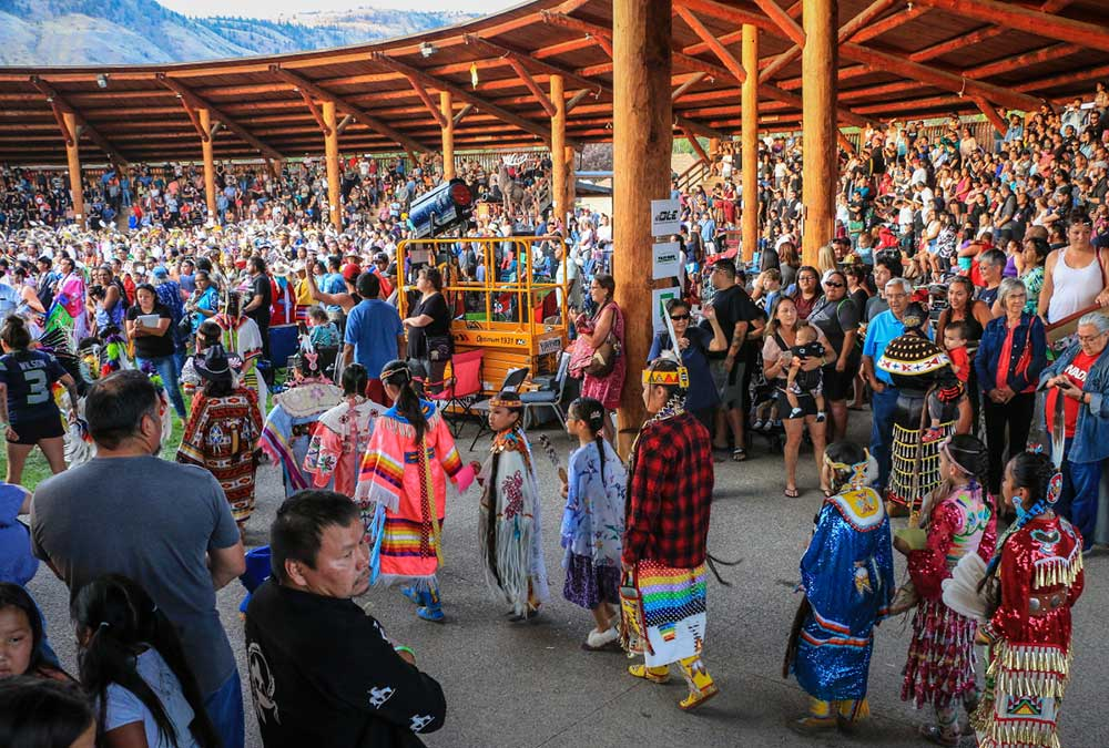 The Kamloopa Powwow at the confluence of the North Thompson River and South Thompson Rivers.