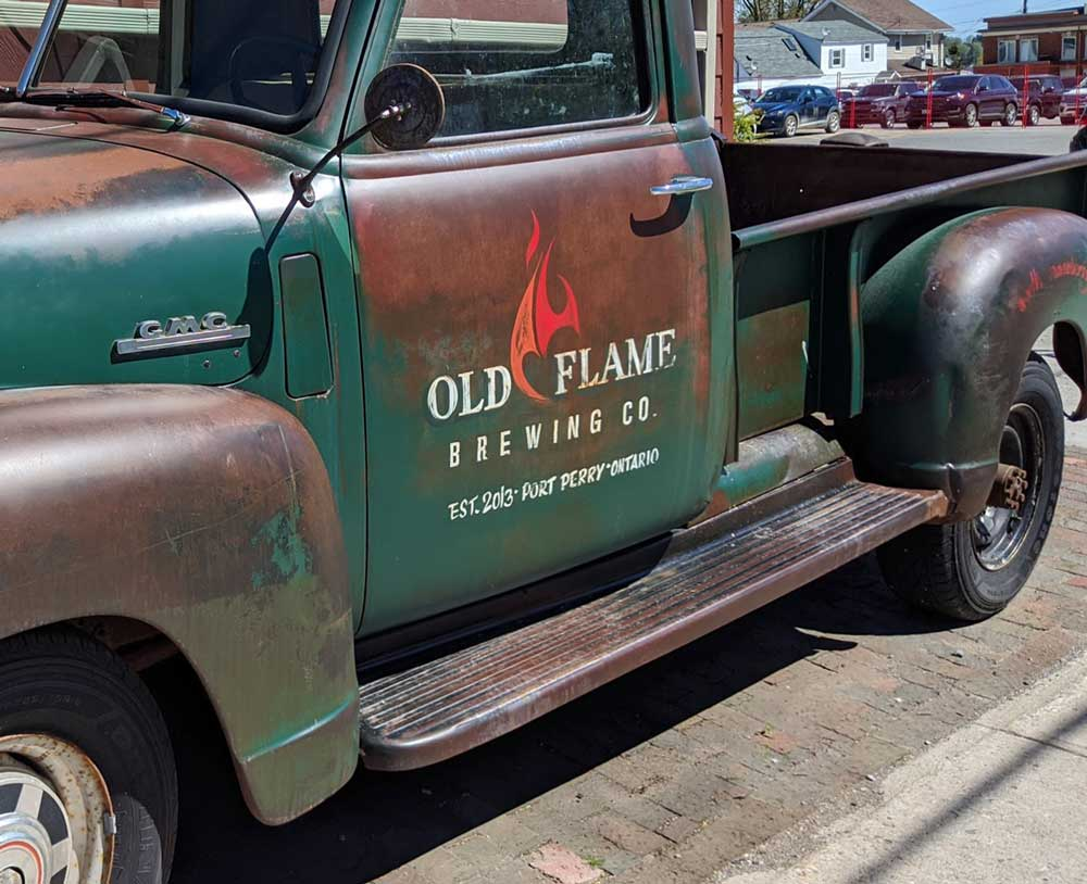 Old Flame Brewing Co. truck in Port Perry, Ontario
