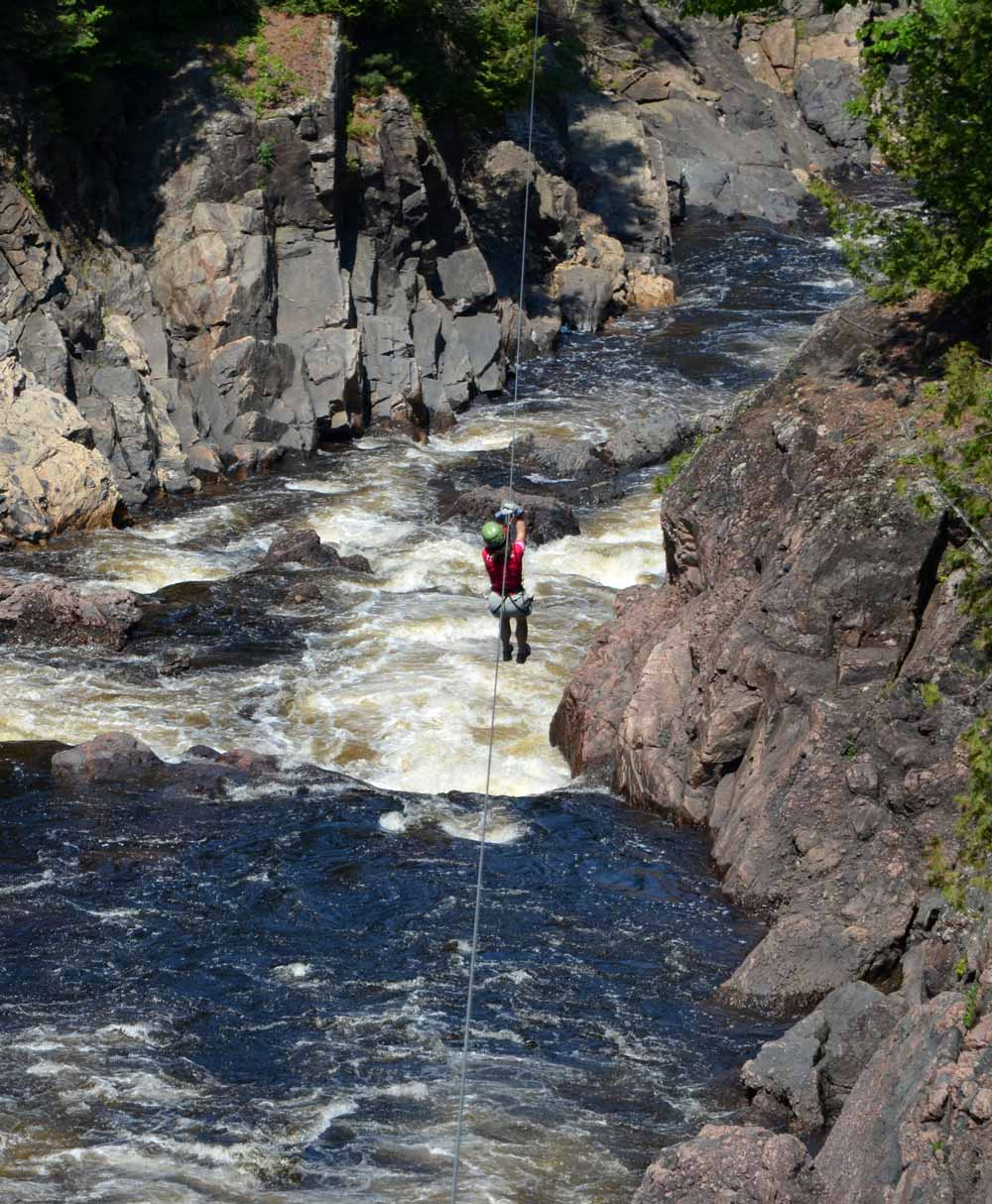 Zip lining at Chutes Coulonge on the Ottawa River