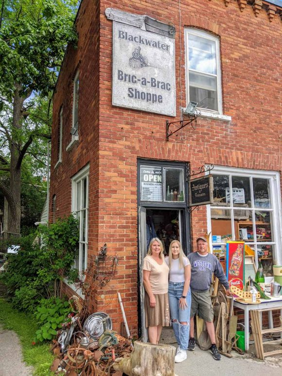 Blackwater Ontario - Wanja and Anika and William Mann at the Blackwater Bric-a-Brac Shoppe