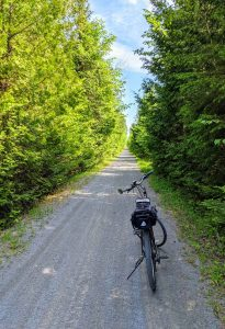 bicycle on Blackwater Ontario trail, eastern branch heading to Lindsay