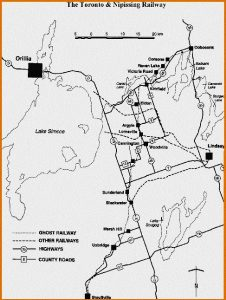 map of Toronto and Nipissing Railway from Ron Brown book