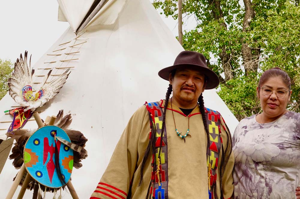 Travis Jimmyjohn and Ronine Ryder offer insight into Stoney Nakoda culture at Bar U Ranch National Historic Site.